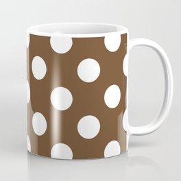 Van Dyke brown - brown - White Polka Dots - Pois Pattern Coffee Mug