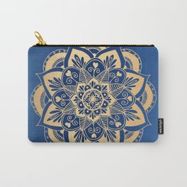 Blue and Gold Flower Mandala Carry-All Pouch