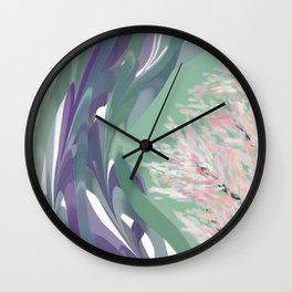 Deep Ocean River Abstract In Soft Green and Purple Wall Clock