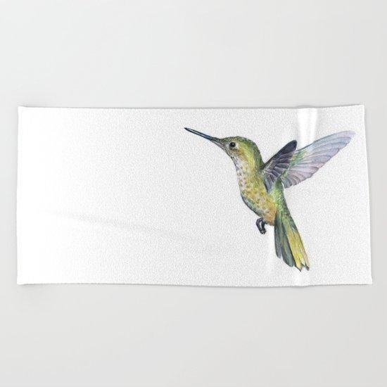 Hummingbird Watercolor Bird Animal Beach Towel