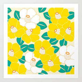 Shades of Tsubaki - Yellow & White Art Print