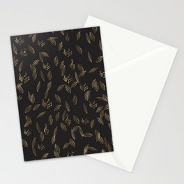 Abstract Gold and Black Musical Fall Leaves Stationery Cards