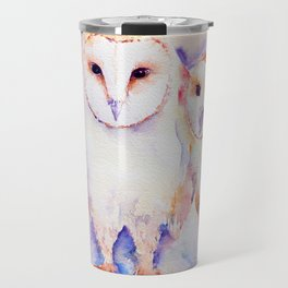 Watercolor Barn Owl Family 3 Barn Owls Abstract Travel Mug