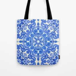 Cobalt Blue & China White Folk Art Pattern Tote Bag