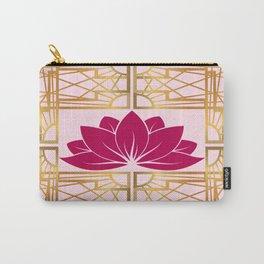 Art Deco Retro Lotus (cerise) Carry-All Pouch