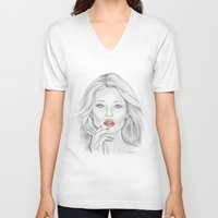 moss V-neck T-shirts featuring Kate Moss by Kim Jenkins
