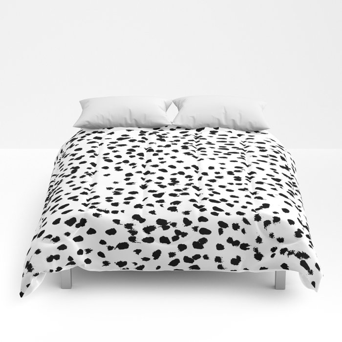 Nadia - Black and White, Animal Print, Dalmatian Spot, Spots, Dots, BW Comforters