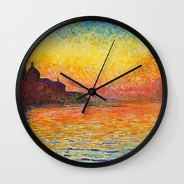 Claude Monet Sunset In Venice Wall Clock