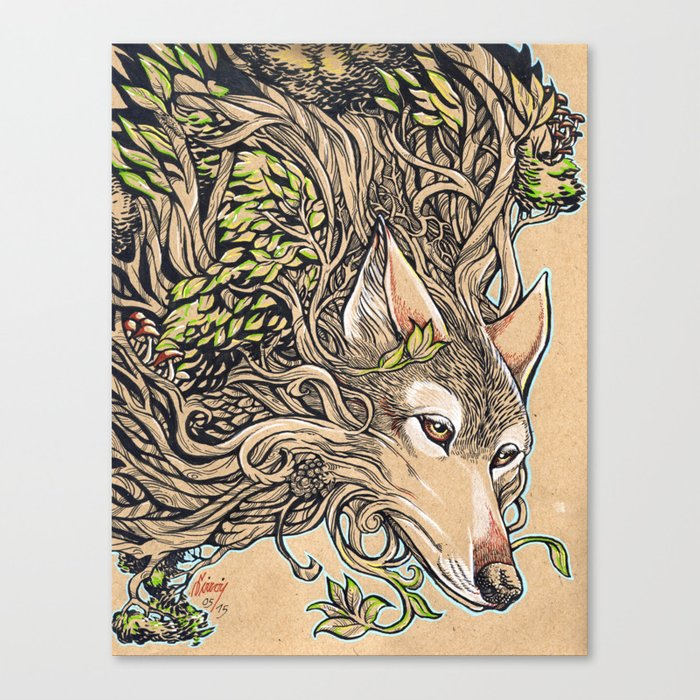 Dog of the Mountain - Honshu Wolf Canvas Print