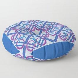 Interlaced Love Mandala Tiled - Blue Violet Floor Pillow