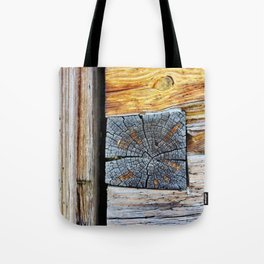 Old log cabin wooden wall Tote Bag