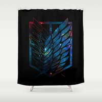 snk Shower Curtains featuring Wings Of Justice: Galaxy by Rebekhaart