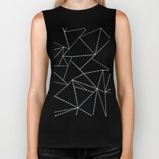 Abstract Dotted Lines Grey Biker Tank