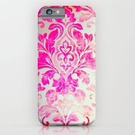 Pink Damask Pattern iPhone Case