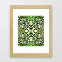 Green and Cream Spiral Bends Framed Art Print