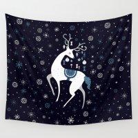 reindeer Wall Tapestries featuring reindeer by Anita Molnár Anita