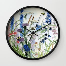 Wildflower in Garden Watercolor Flower Illustration Painting Wall Clock