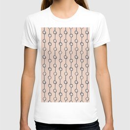 Minimalist Vertical Dot Stripe Navy Gray on Blush Pink T-shirt