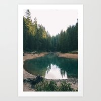 The lake through the forest Art Print