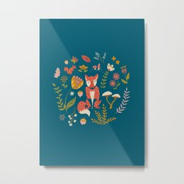 Fall Fox on Blue Metal Print