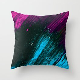 Neon Pink and Blue Neon Space Throw Pillow