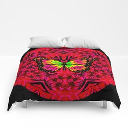 Dynamic Circular Butterfly Graphic Comforters