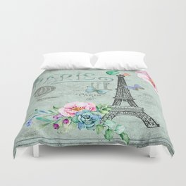 Paris - my love - France Eiffeltower Nostalgy - French Vintage Duvet Cover