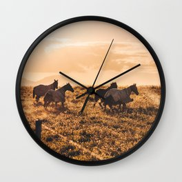 wild horses at dusk Wall Clock