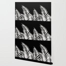 Palm Leaves White Wallpaper