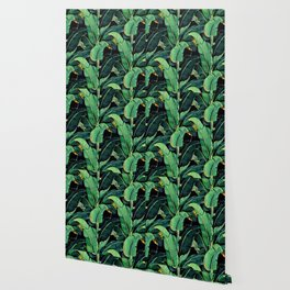 Watercolor banana leaves night pattern Wallpaper