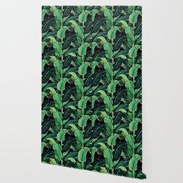 Watercolor banana leaves night pattern Wallpaper