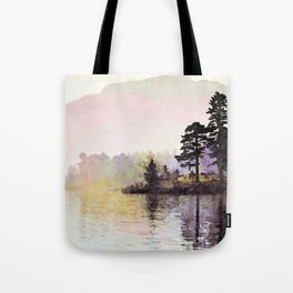Pines along the Lake in the Mist, Lake District, UK. Watercolor Painting Tote Bag
