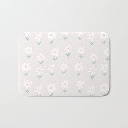 Hand painted blush pink white floral polka dots illustration Bath Mat