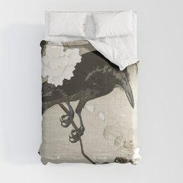 Raven on Cherry tree - Japanese vintage woodblock print Comforters