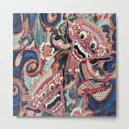 Ethnic Asian Indonesian Balinese Batik Barong Monsters Metal Print