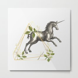 UNICORN OVERCOMING AN OBSTACLE Metal Print