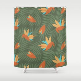 Vintage Florida Birds of Paradise Pattern Shower Curtain