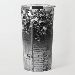 Old Italian wall overgrown with roses Travel Mug