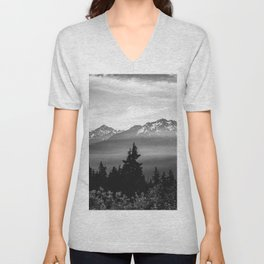 Morning in the Mountains Black and White Unisex V-Neck
