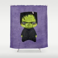 actor Shower Curtains featuring A Boy - Frankenstein's monster by Christophe Chiozzi