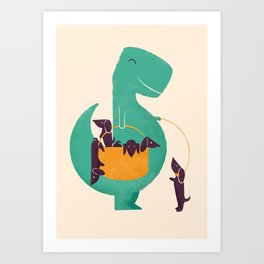 T-Rex and his Basketful of Wiener Dogs Art Print