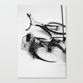 Snow Bicycle Canvas Print