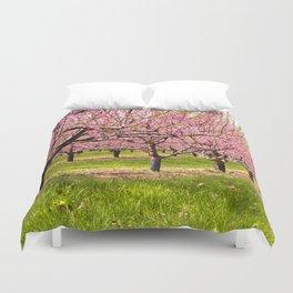 Pink Flowering Trees Duvet Cover
