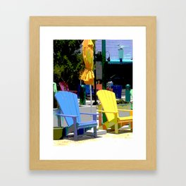 Brightly Colored Chairs Framed Art Print