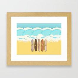 Aloha Surf Wave Beach Framed Art Print