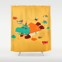 hippo Shower Curtains featuring Super Hippo! by Irene Chan