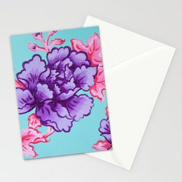 peonies in perspective purple Stationery Cards