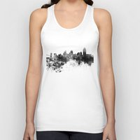 cincinnati Tank Tops featuring Cincinnati skyline in black watercolor by Paulrommer