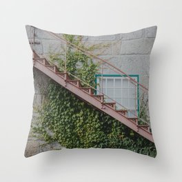 Stone House with Ivy Wall Throw Pillow