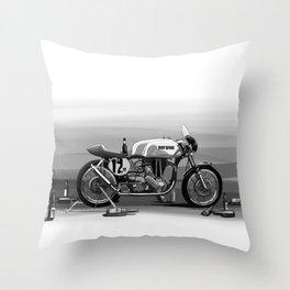 Beer Savage Vintage Norton Cafe Racer Throw Pillow